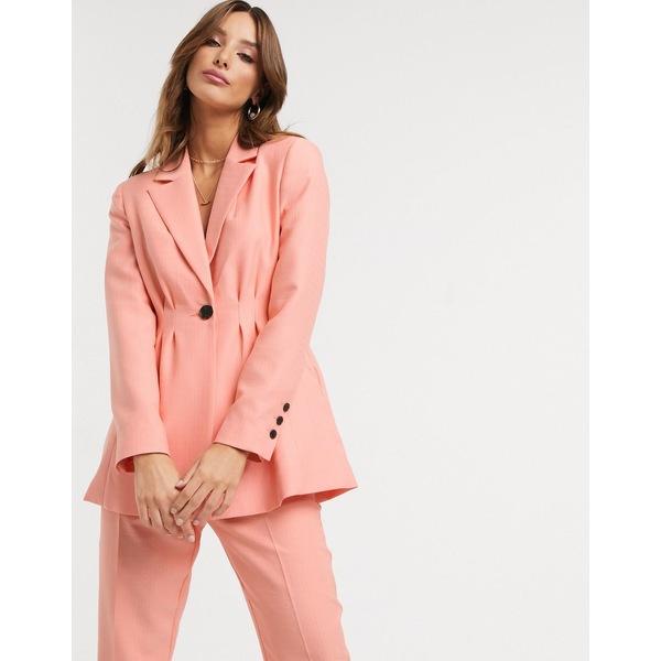 エイソス レディース ジャケット&ブルゾン アウター ASOS DESIGN pleat waist suit blazer in peach Peach