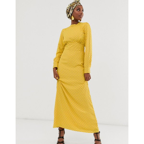 エイソス レディース ワンピース トップス ASOS DESIGN maxi tea dress with buttons in spot Yellow based spot