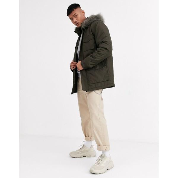 エイソス メンズ コート アウター ASOS DESIGN hooded parka with detachable faux fur trim in khaki Khaki