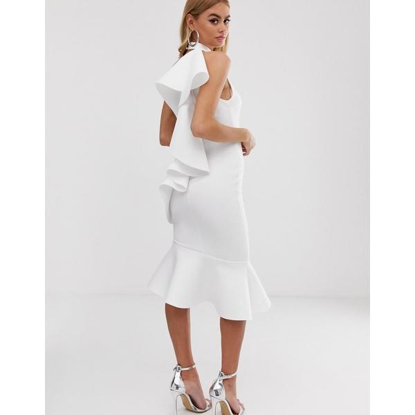 エイソス レディース ワンピース トップス ASOS DESIGN one shoulder ruffle halter midi dress White