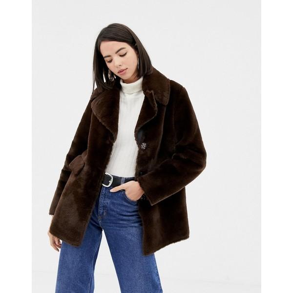 ウエアハウス レディース コート アウター Warehouse faux fur coat in chocolate Chocolate