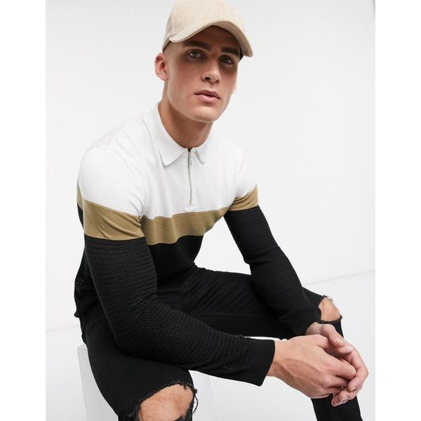 リバーアイランド メンズ ポロシャツ トップス River Island long sleeved knitted polo in color block Black