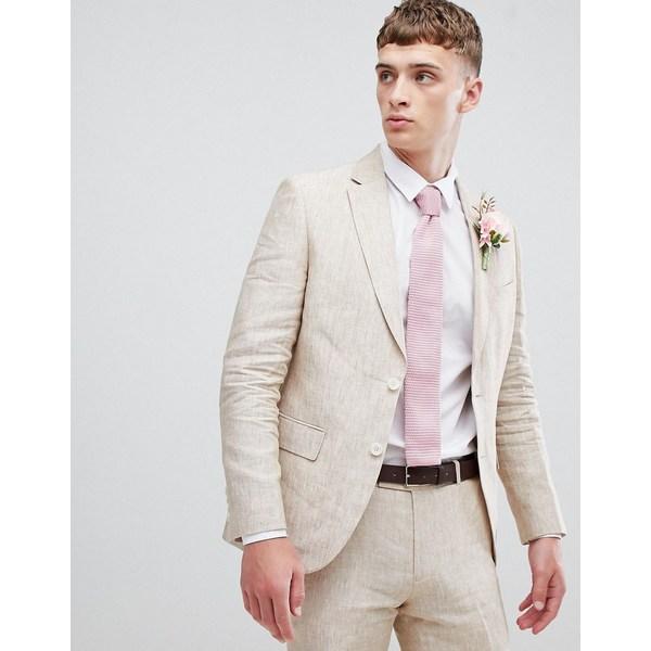 モスブロス メンズ ジャケット&ブルゾン アウター Moss London skinny suit jacket in cream linen Beige
