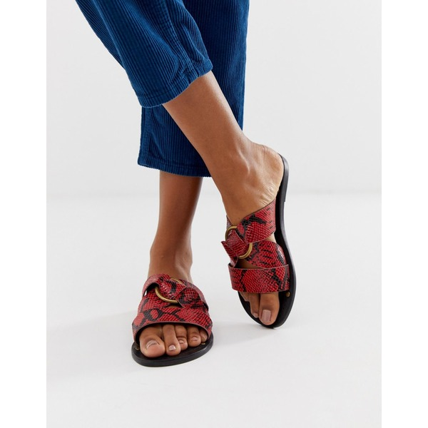 エイソス レディース サンダル シューズ ASOS DESIGN Frankie leather ring detail flat sandals Red snake