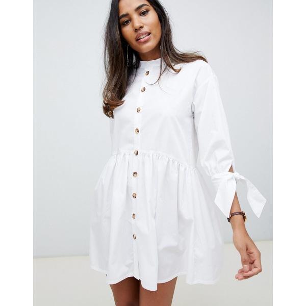 エイソス レディース ワンピース トップス ASOS DESIGN grandad collar button through mini smock dress with tie sleeve White