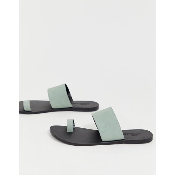 エイソス レディース サンダル シューズ ASOS DESIGN Faro leather toe loop flat sandals Pastel blue