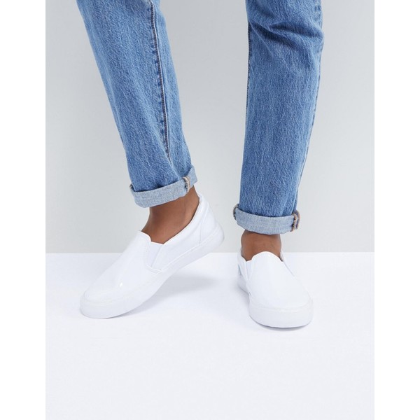 エイソス レディース スニーカー シューズ ASOS DESIGN Dianna Slip On Sneakers White patent