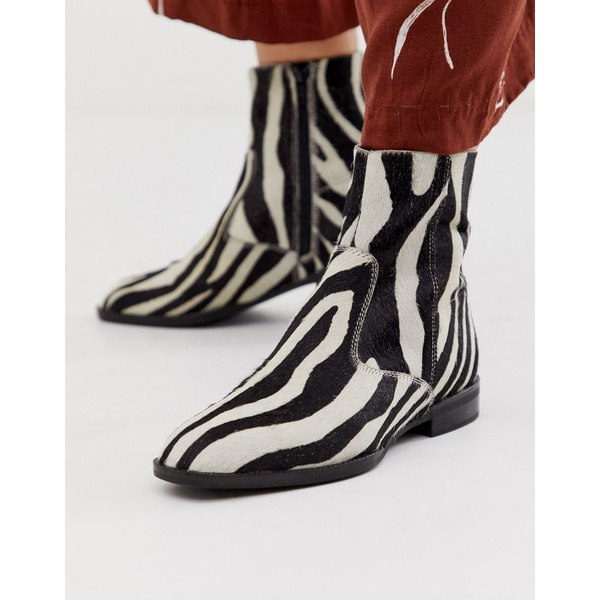 エイソス レディース ブーツ&レインブーツ シューズ ASOS DESIGN Alfie suede sock boots in zebra pony Zebra pony