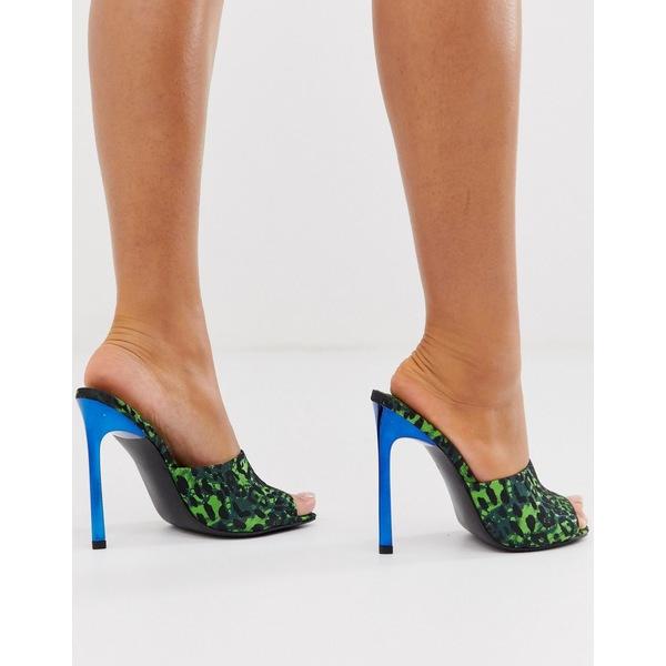エイソス レディース ヒール シューズ ASOS DESIGN Network mule heeled sandals in green leopard Green leopard