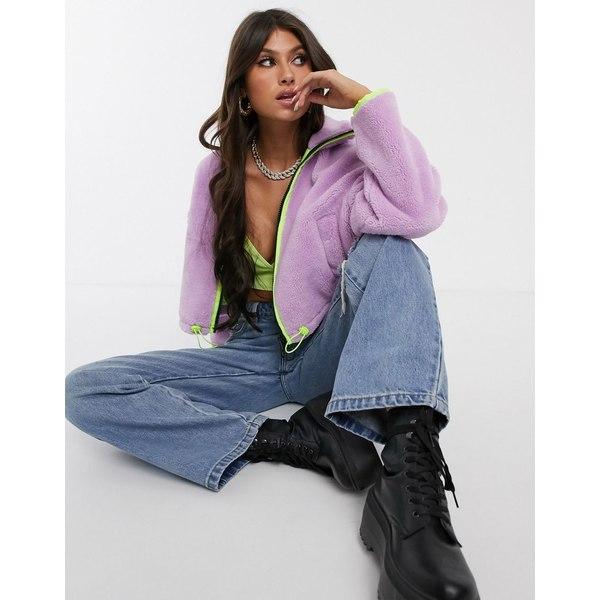 エイソス レディース ジャケット&ブルゾン アウター ASOS DESIGN cropped fleece jacket with neon binding Lilac