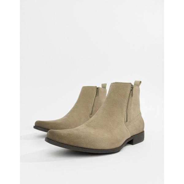 エイソス メンズ ブーツ&レインブーツ シューズ ASOS DESIGN chelsea boots in stone faux suede with zips Stone