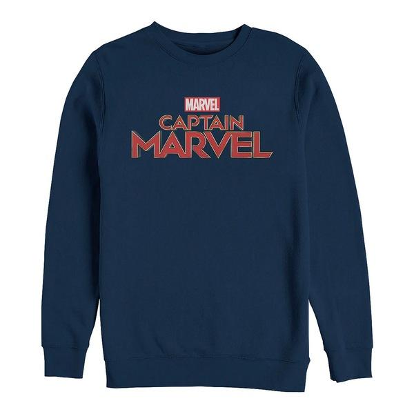 【即発送可能】 マーベル メンズ パーカー・スウェットシャツ アウター Men&39;s Captain Marvel Chest Text Logo, Crewneck Fleece Navy, Dクリエイツショップ e6575ee1