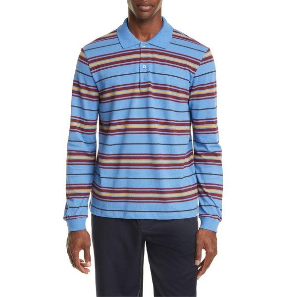 トレビアン メンズ ポロシャツ トップス Trs Bien Long Sleeve Stripe Piqu Polo Powder Blue