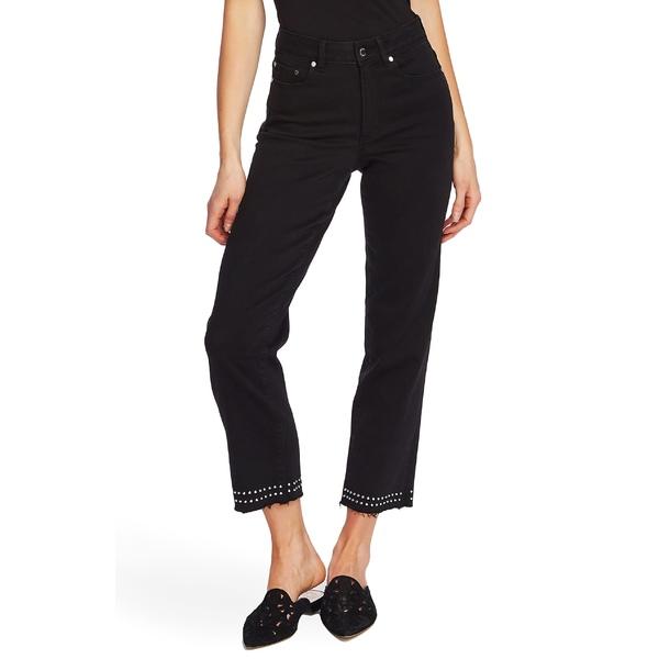 ヴィンスカムート レディース カジュアルパンツ ボトムス Vince Camuto Stud Detail High Waist Crop Straight Leg Jeans Jet Black