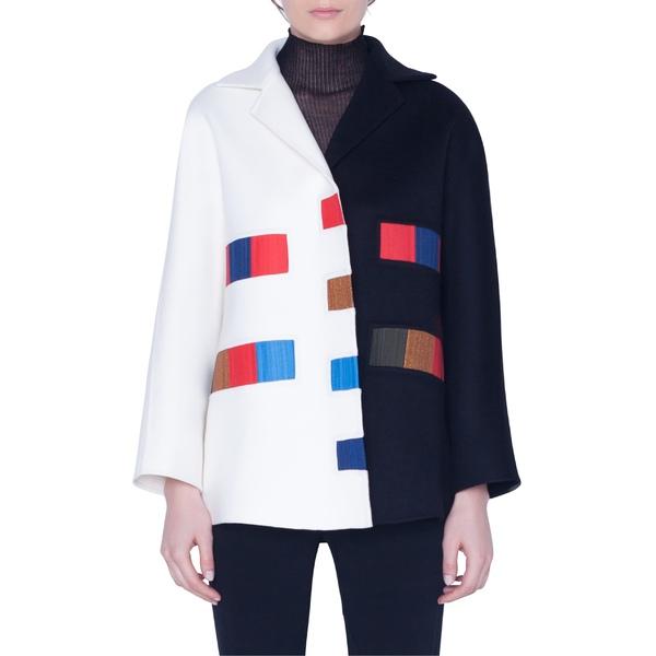 アクリス レディース ジャケット&ブルゾン アウター Akris Colorama Bicolor Double Face Cashmere Jacket Black-Swan