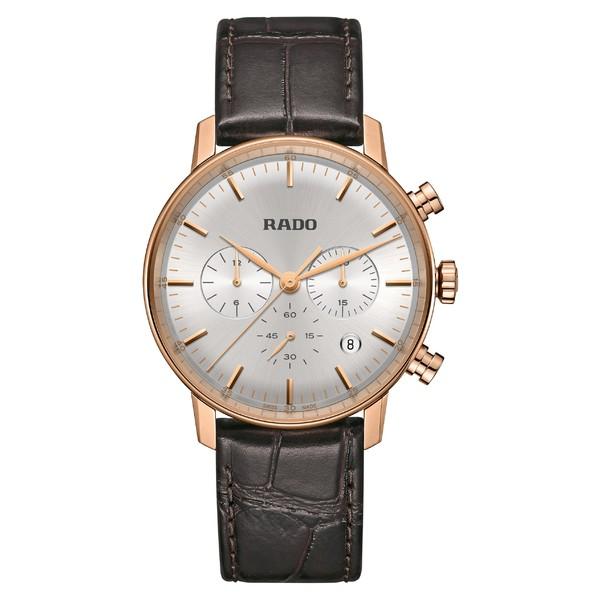ラド レディース 腕時計 アクセサリー RADO Coupole Classic Chronograph Leather Strap Watch, 42mm Brown/ Silver/ Rose Gold