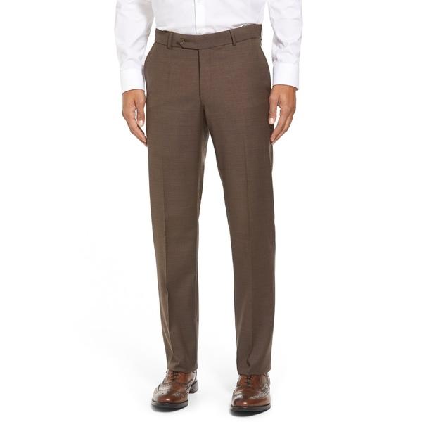 バリーン メンズ カジュアルパンツ ボトムス Ballin Classic Fit Flat Front Sharkskin Wool Dress Pants Chestnut