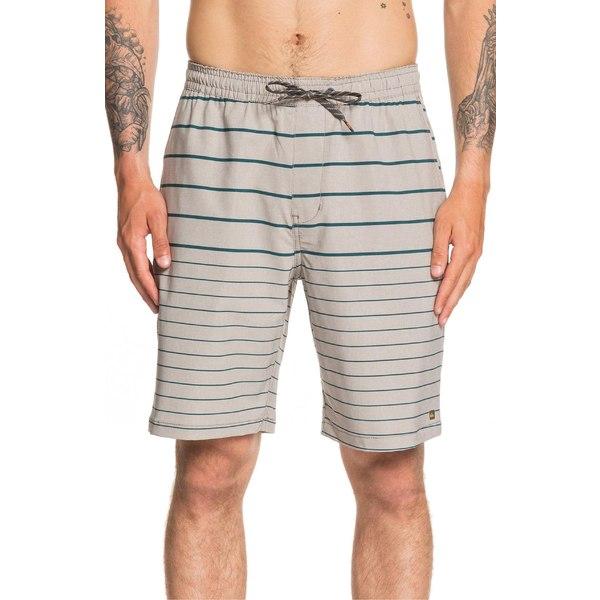 クイックシルバー メンズ カジュアルパンツ ボトムス Quiksilver Suva Stripe Amphibian Water Repellent Shorts Flint Gray
