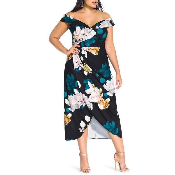 シティーシック レディース ワンピース トップス City Chic Glow Off the Shoulder Midi Dress (Plus Size) Floral Glow