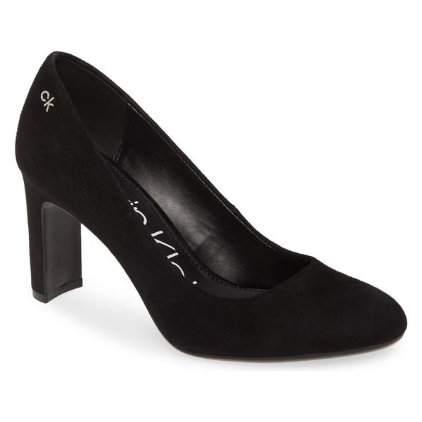 カルバンクライン レディース パンプス シューズ Calvin Klein Octavia Block Heel Pump (Women) Black Suede