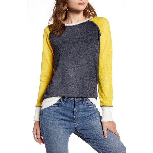 トレジャーアンドボンズ レディース パーカー・スウェットシャツ アウター Treasure & Bond Colorblock Crewneck Sweatshirt Navy Night- Yellow Combo