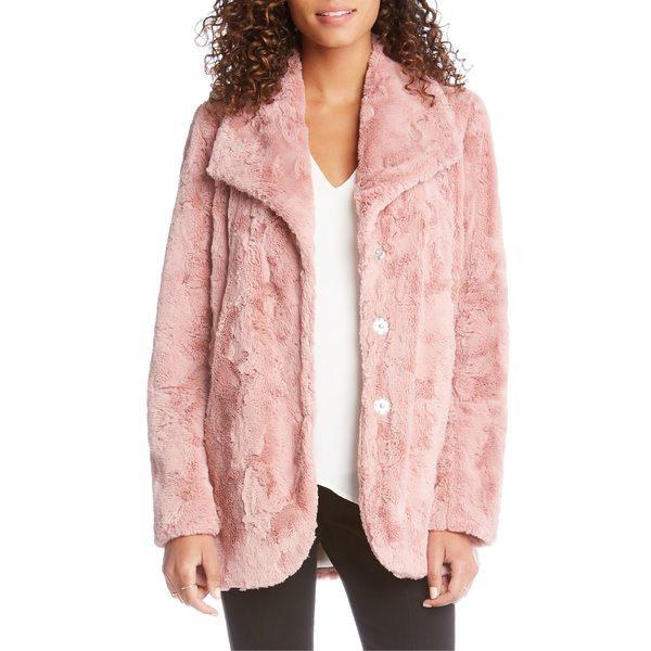 カレンケーン レディース ジャケット&ブルゾン アウター Karen Kane Oversize Lapel Faux Fur Coat Petal Pink