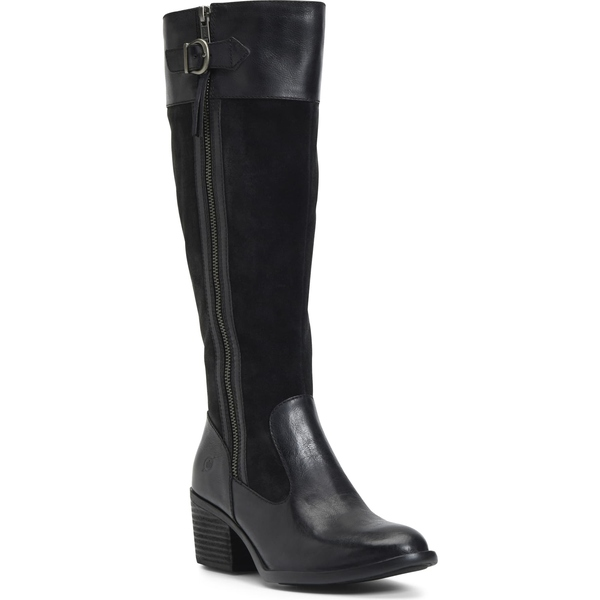 バーン レディース ブーツ&レインブーツ シューズ Brn Uchee Knee High Boot (Regular & Wide Calf) Black Distressed Leather
