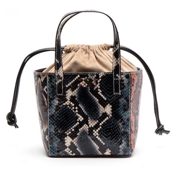 フランセスバレンタイン レディース ハンドバッグ バッグ Frances Valentine Moxy Snake Embossed Leather Tote Blue Multi