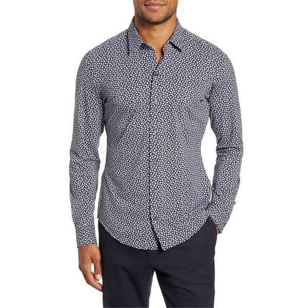 ボス メンズ シャツ トップス BOSS Robbie Slim Fit Floral Button-Up Stretch Nylon Shirt Black