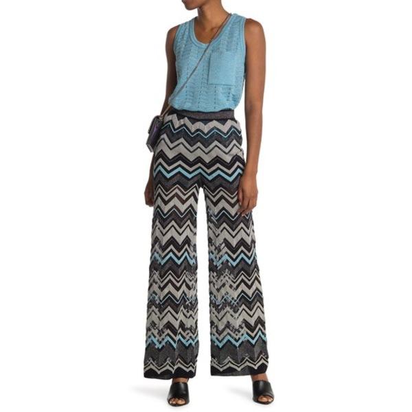 エム ボトムス レディース ミッソーニ BLACK Leg カジュアルパンツ Chevron Pants Wide Print