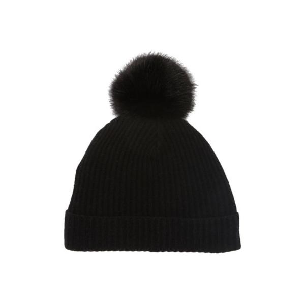 ポートラノ レディース 高品質 アクセサリー 帽子 BLK 全商品無料サイズ交換 Cashmere Faux Pompom Fur NEW売り切れる前に☆ Beanie