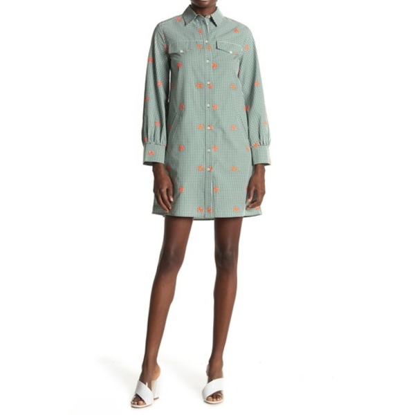 ポールアンドジョーシスター レディース ワンピース トップス Lucia Floral Embroidered Gingham Shirt Dress GREEN