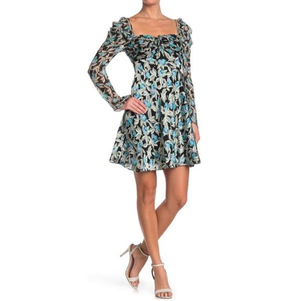 ダイアン フォン ファステンバーグ レディース ワンピース トップス Josephina Floral Print Square Neck Mini Dress EDEN BLACK