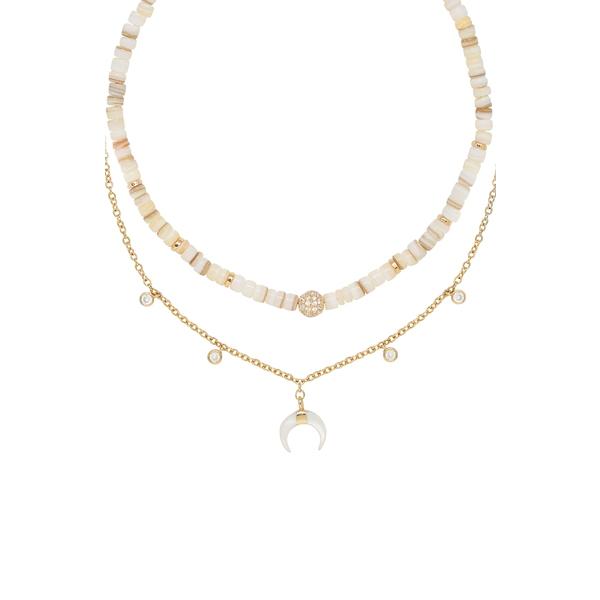エティカ レディース ネックレス・チョーカー・ペンダントトップ アクセサリー Ettika Shell & Crescent Horn Set of 2 Necklaces Gold
