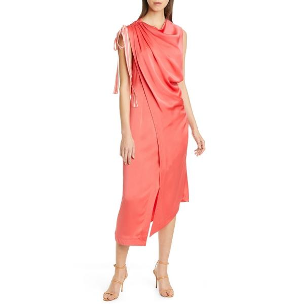 モンス レディース ワンピース トップス Monse Ribbon Detail Draped Asymmetrical Midi Dress Guava