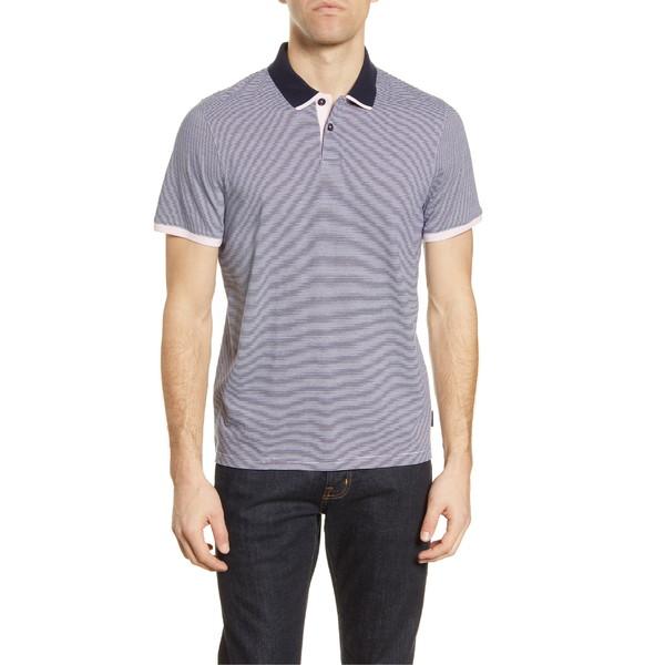 テッドベーカー メンズ ポロシャツ トップス Ted Baker London Caffine Slim Fit Stripe Contrast Collar Polo Navy