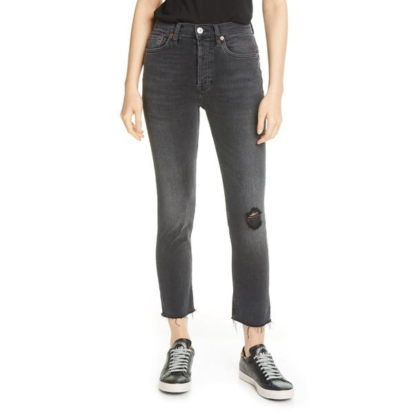 リダン レディース カジュアルパンツ ボトムス Re/Done Originals High Waist Ankle Crop Jeans Live In Black