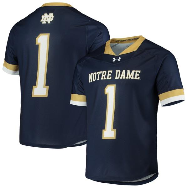 アンダーアーマー メンズ ユニフォーム トップス #1 Notre Dame Fighting Irish Under Armour Replica Lacrosse Jersey Navy