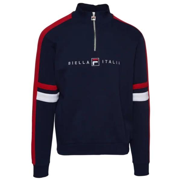 フィラ メンズ フィットネス スポーツ Romolo 1/2 Zip Sweatshirt Peacoat/Chinese Red/White