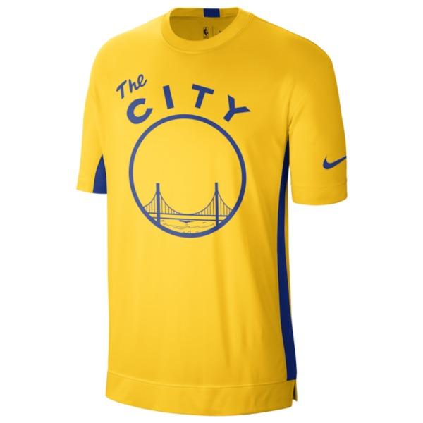 ナイキ メンズ シャツ トップス NBA Hardwood Classic S/S Top NBA | Golden State Warriors | Amarillo/Rush Blue