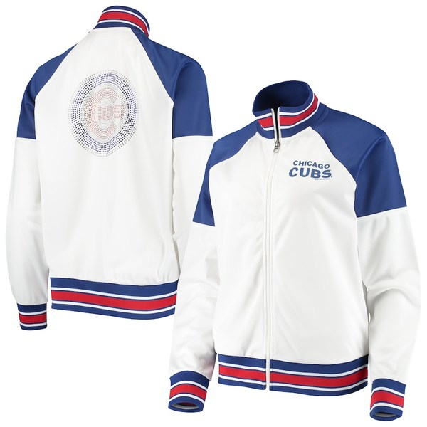 カールバンクス レディース ジャケット&ブルゾン アウター Chicago Cubs G-III 4Her by Carl Banks Women's First Hit Raglan Full-Zip Track Jacket White/Royal