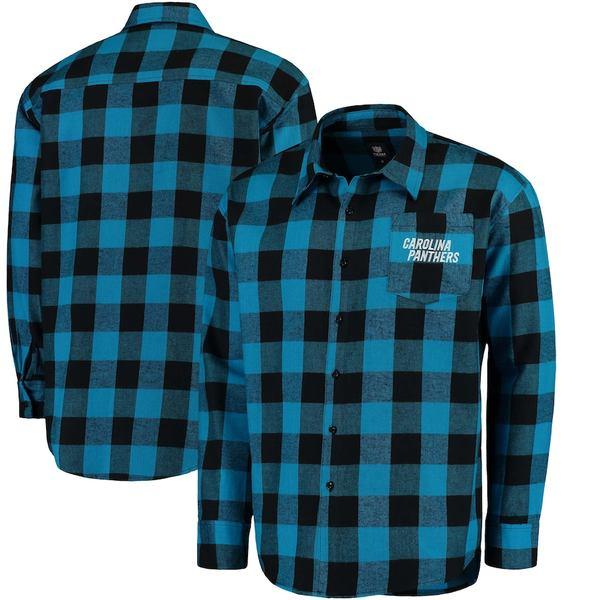 フォコ メンズ シャツ トップス Carolina Panthers Klew Large Check Flannel Button-Up Shirt Black