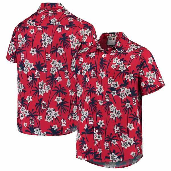 フォコ メンズ シャツ トップス St. Louis Cardinals Floral Button-Up Shirt Red