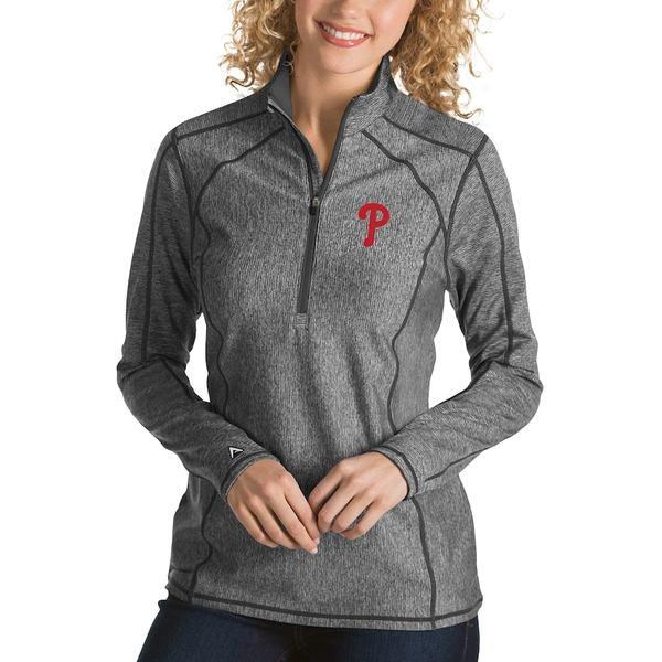 アンティグア レディース ジャケット&ブルゾン アウター Philadelphia Phillies Antigua Women's Tempo Desert Dry 1/4-Zip Pullover Jacket Heathered Charcoal