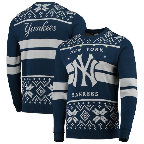 フォコ メンズ シャツ トップス New York Yankees Two-Stripe Big Logo Light Up Sweater Navy