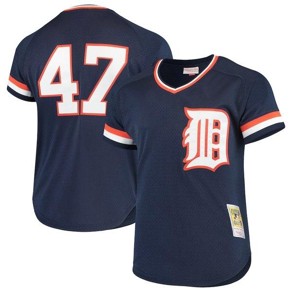 ミッチェル&ネス メンズ シャツ トップス Jack Morris Detroit Tigers Mitchell & Ness Cooperstown Collection Mesh Batting Practice Jersey Navy