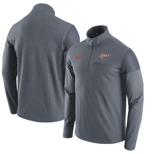 ナイキ メンズ ジャケット&ブルゾン アウター Detroit Tigers Nike Elite Half-Zip Pullover Jacket Gray