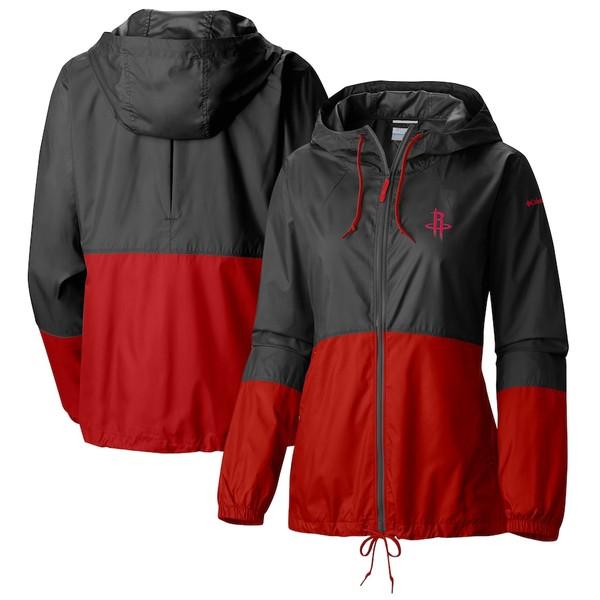 コロンビア レディース ジャケット&ブルゾン アウター Houston Rockets Columbia Women's Flash Forward Full-Zip Windbreaker Jacket Black