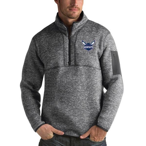 アンティグア メンズ ジャケット&ブルゾン アウター Charlotte Hornets Antigua Fortune 1/2-Zip Pullover Jacket Heathered Black