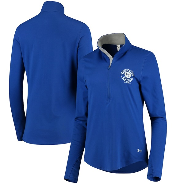 アンダーアーマー レディース ジャケット&ブルゾン アウター Kansas City Royals Under Armour Women's Charged Cotton Half-Zip Pullover Jacket Royal